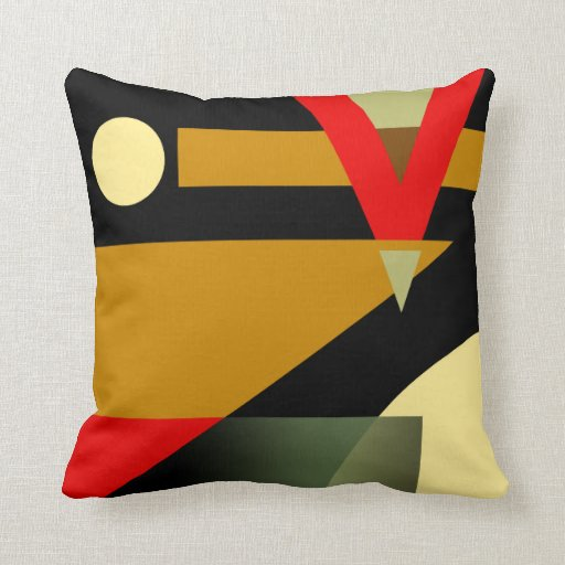 Red And Beige Throw Pillows : Jazzy Geometric Pattern gold red beige black Throw Pillow Zazzle