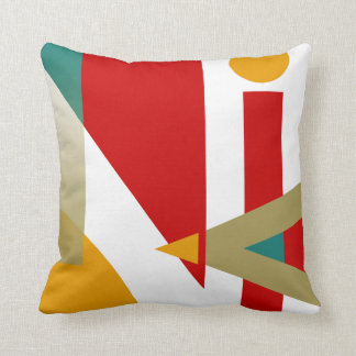 Jazzy Geometric Pattern | red gold teal white Throw Pillow