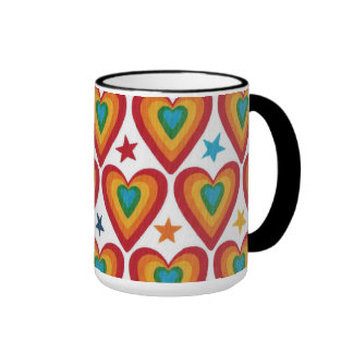 Jazzy Hearts Black Ringer Mug