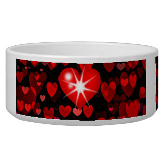 jazzy hearts valentine pet food bowl