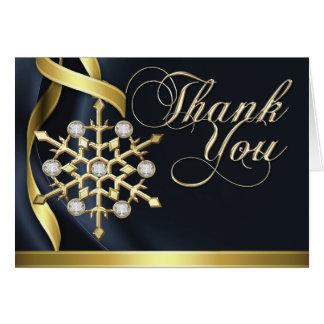 Jazzy Jeweled Snowflake Black Thank You Card