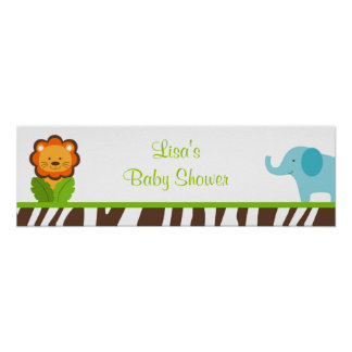 Jazzy Jungle Animal Baby Shower Banner Sign Poster