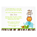 Jazzy Jungle Animal Baby Shower Invitations