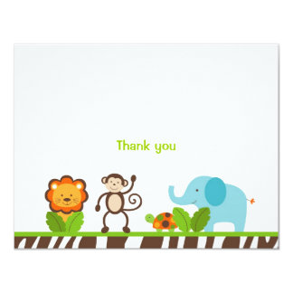 Jazzy Jungle Animal Flat Thank You Note Cards