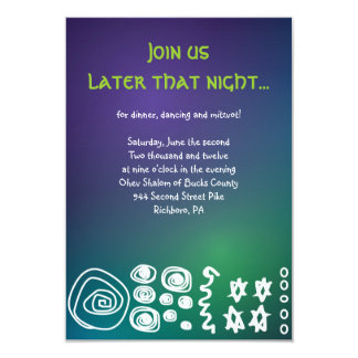 Jazzy Musical Bar Bat Mitzvah Party Reception Card