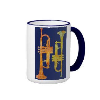 Jazzy Orange and Yellow Trumpets Ringer Mug
