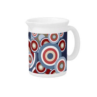 Jazzy Red White Blue Cream Circles Pattern Beverage Pitcher