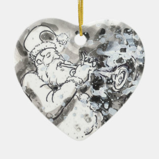"""Jazzy Santa"" Ceramic Ornament"