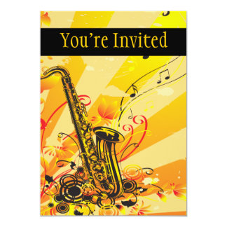 Jazzy Saxophone Beams Of Music 5x7 Paper Invitation Card
