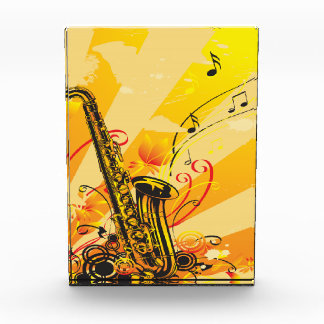 Jazzy Saxophone Beams Of Music Acrylic Award