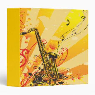 Jazzy Saxophone Beams Of Music Binder
