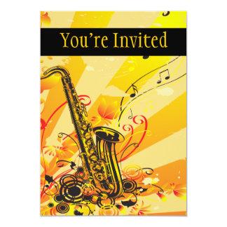 Jazzy Saxophone Beams Of Music Card