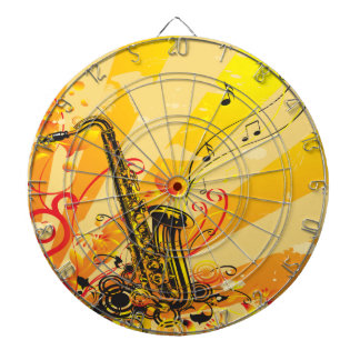 Jazzy Saxophone Beams Of Music Dartboard