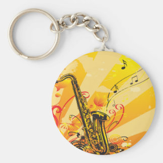 Jazzy Saxophone Beams Of Music Keychain
