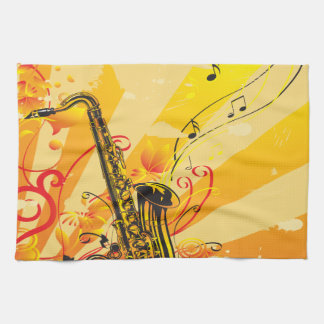 Jazzy Saxophone Beams Of Music Hand Towels