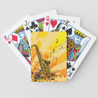 Jazzy Saxophone Beams Of Music Bicycle Poker Cards