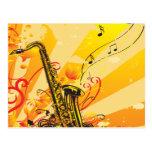 Jazzy Saxophone Beams Of Music Postcard