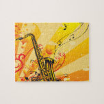 Jazzy Saxophone Beams Of Music Puzzle