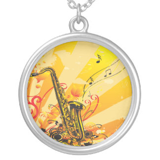 Jazzy Saxophone Beams Of Music Round Pendant Necklace
