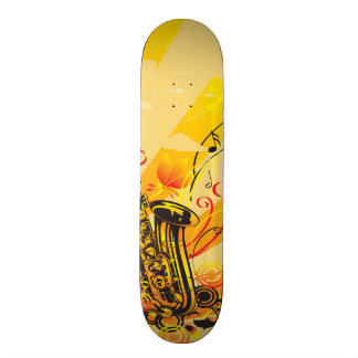 Jazzy Saxophone Beams Of Music Skateboard Deck
