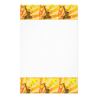 Jazzy Saxophone Beams Of Music Stationery