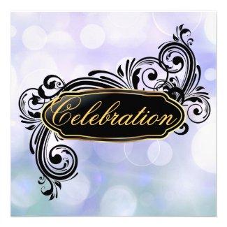 Jazzy Teal Bokeh Birthday Invitations