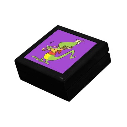 jazzy trombone playing lizard cartoon keepsake box