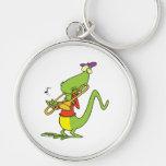 jazzy trombone playing lizard cartoon key chains