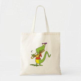 jazzy trombone playing lizard cartoon tote bag