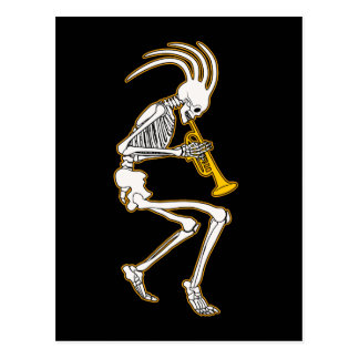 Jazzy Trumpeter Skeleton Postcard