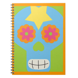 jc03 COLORFUL MEXICAN SKULL DECORATIVE CARTOON FLO Notebooks