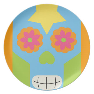 jc03 COLORFUL MEXICAN SKULL DECORATIVE CARTOON FLO Party Plate