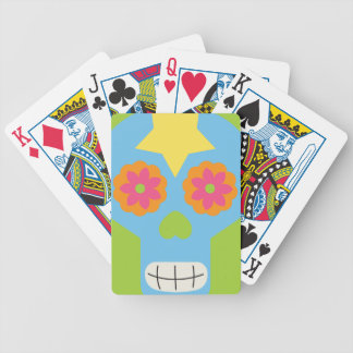 jc03 COLORFUL MEXICAN SKULL DECORATIVE CARTOON FLO Poker Cards