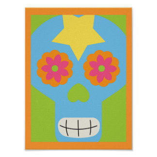 jc03 COLORFUL MEXICAN SKULL DECORATIVE CARTOON FLO Poster