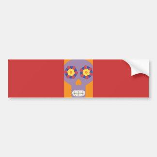 jc04 COLORFUL MEXICAN SKULL DECORATIVE CARTOON FLO Bumper Sticker