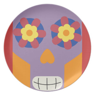 jc04 COLORFUL MEXICAN SKULL DECORATIVE CARTOON FLO Party Plate