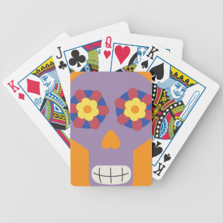 jc04 COLORFUL MEXICAN SKULL DECORATIVE CARTOON FLO Poker Deck