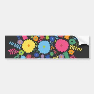 jc08 MEXICAN COLORFUL FLOWERS ARRANGEMENT BLACK BA Bumper Stickers
