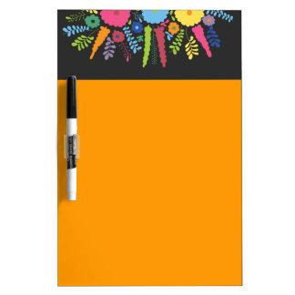 jc08 MEXICAN COLORFUL FLOWERS ARRANGEMENT BLACK BA Dry-Erase Board