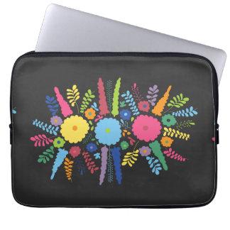 jc08 MEXICAN COLORFUL FLOWERS ARRANGEMENT BLACK BA Laptop Computer Sleeve