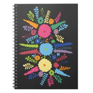 jc08 MEXICAN COLORFUL FLOWERS ARRANGEMENT BLACK BA Spiral Note Books