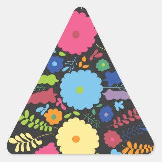 jc08 MEXICAN COLORFUL FLOWERS ARRANGEMENT BLACK BA Triangle Sticker