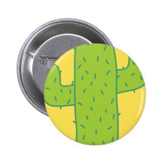 jc09 PRICKLY CARTOON CACTUS GREEN YELLOW Pins