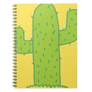 jc09 PRICKLY CARTOON CACTUS GREEN YELLOW Notebook