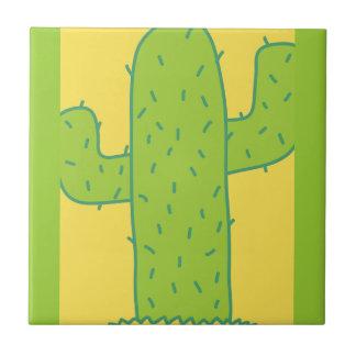 jc09 PRICKLY CARTOON CACTUS GREEN YELLOW Ceramic Tile