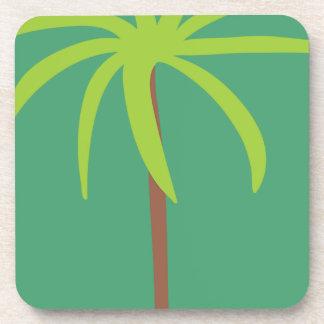 jc11 TROPICAL PALM TREE CARTOON GREENS Beverage Coasters