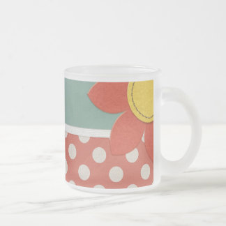 JC14 RED WHITE POLKADOTS POLKA DOTS CLOTH FLOWER G FROSTED GLASS COFFEE MUG