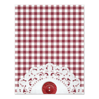 JC26 RED WHITE CHECKERED COUNTRY PATTERN SQUARES D CARD