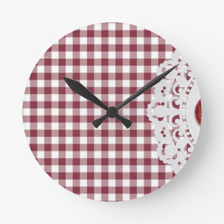 JC26 RED WHITE CHECKERED COUNTRY PATTERN SQUARES D CLOCK