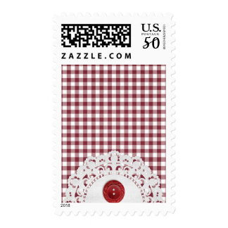JC26 RED WHITE CHECKERED COUNTRY PATTERN SQUARES D POSTAGE